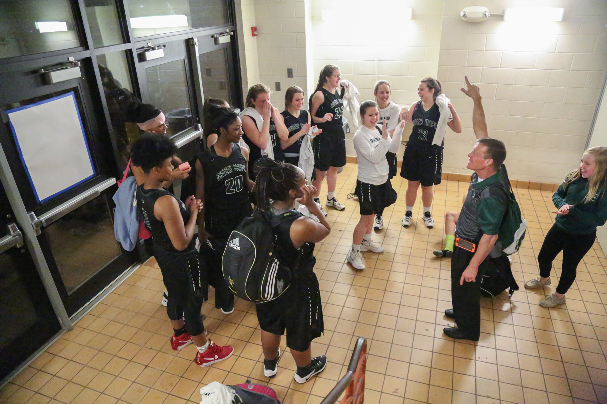 The Green Hope Falcons girls basketball team won the home conference game against Athens Drive on Feb. 10, 2017 by a score of 55-45.