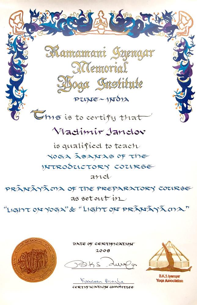 Iyengar certificate 2008