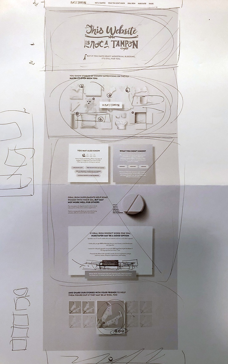 The iterative design process draws on the functional annotations to maintain the experience that was presented to the client as part of the original brief.
