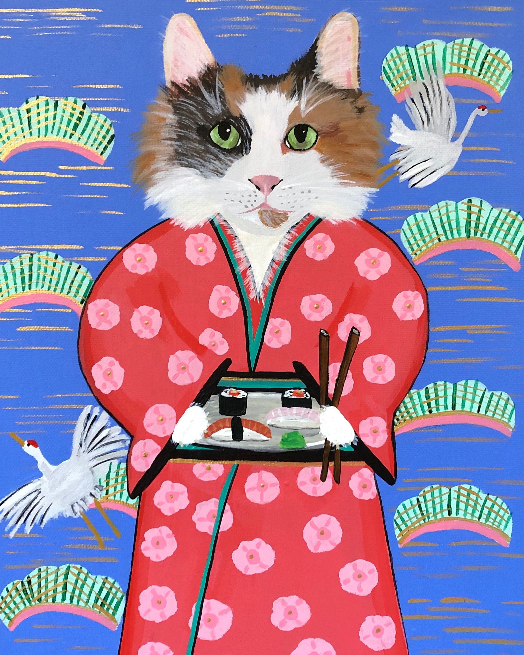 CAT WITH SUSHI | Size 11 x 14