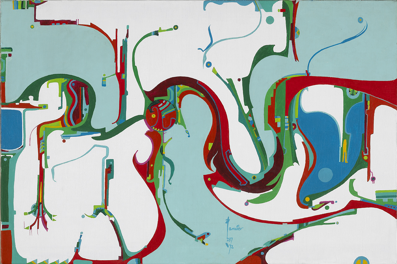Alex Janvier ,  Coming of the Opposite , 1972, acrylic on canvas, 61.3 × 92.3 cm. National Gallery of Canada, Ottawa (41203) © Alex Janvier. Photo: NGC