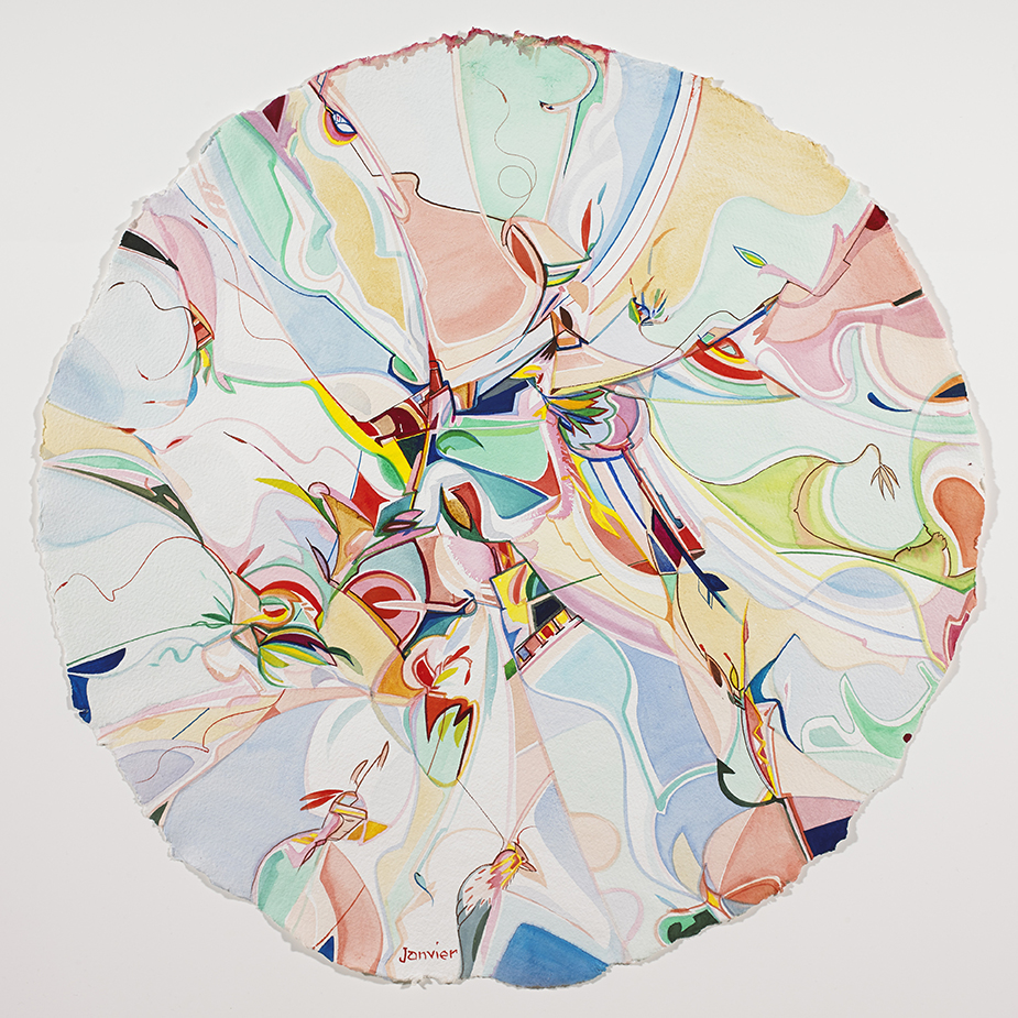 Alex Janvier ,  Land of Beauty and Joy , 2015, watercolour on paper, 91.4 cm (diameter). Courtesy of the artist and Janvier Gallery, Cold Lake First Nations © Alex Janvier. Photo: NGC