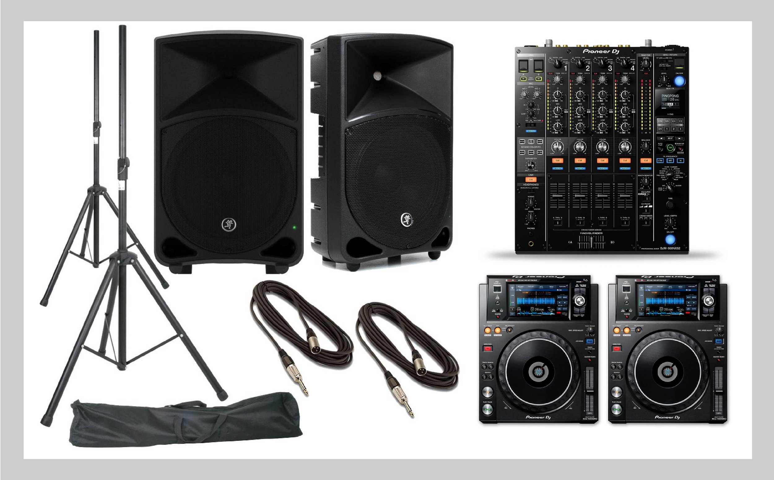 DJ Package: $475.00  2 Mackie Thumps, XLR cables, stands  2 CDJ 2000  1 DJM900 Mixer