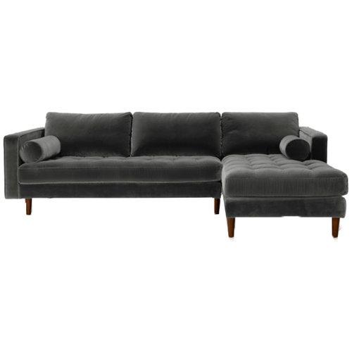 Velvet Grey Sectional Sofa