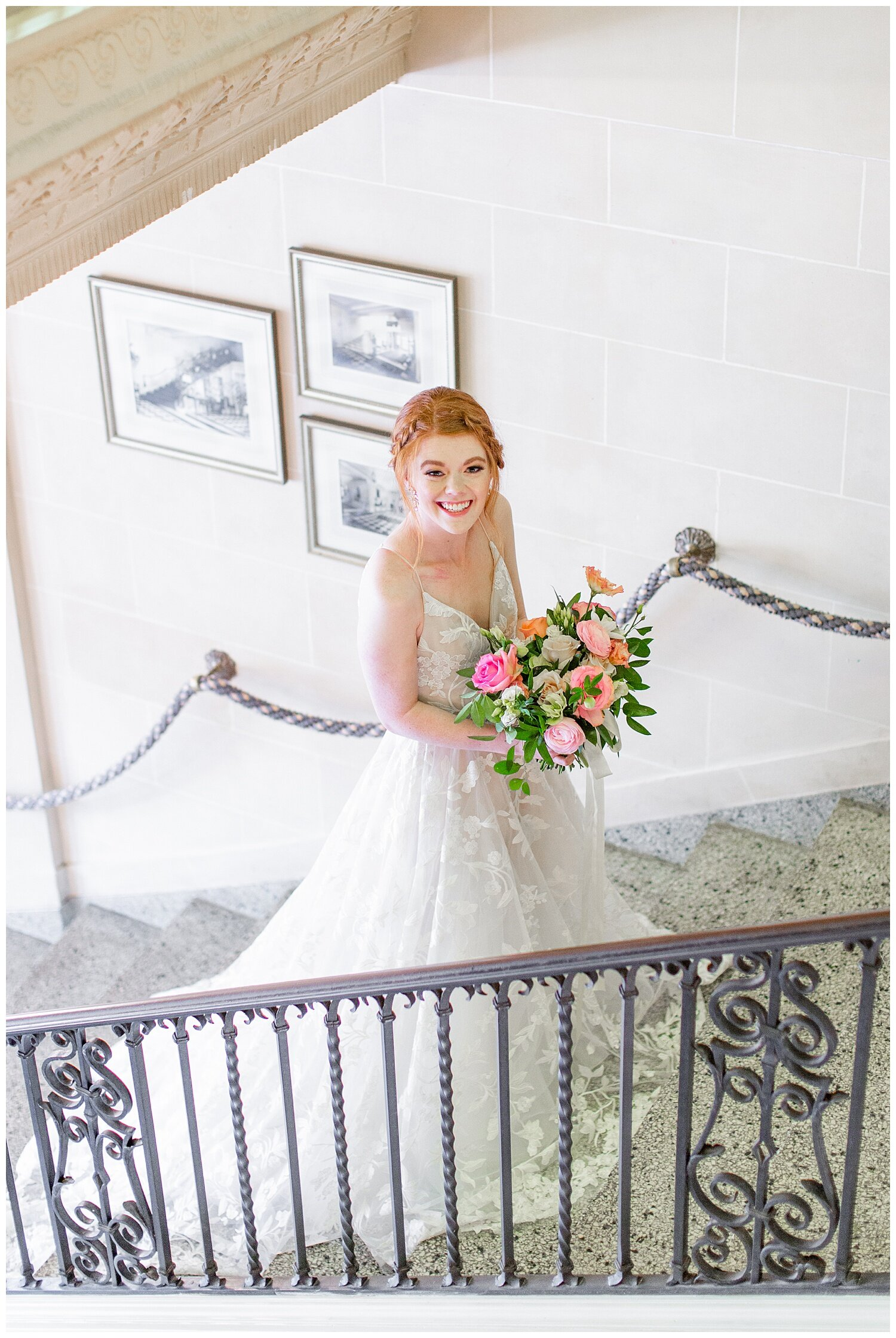 wedding dress on stair case