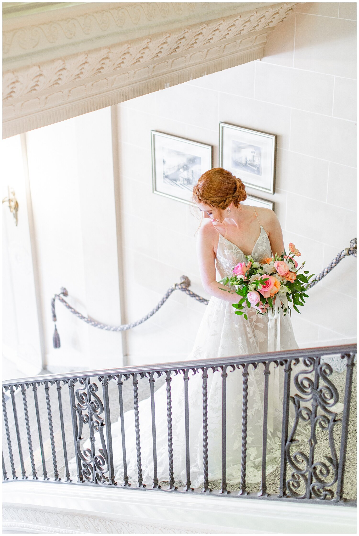 wedding pictures on stair case
