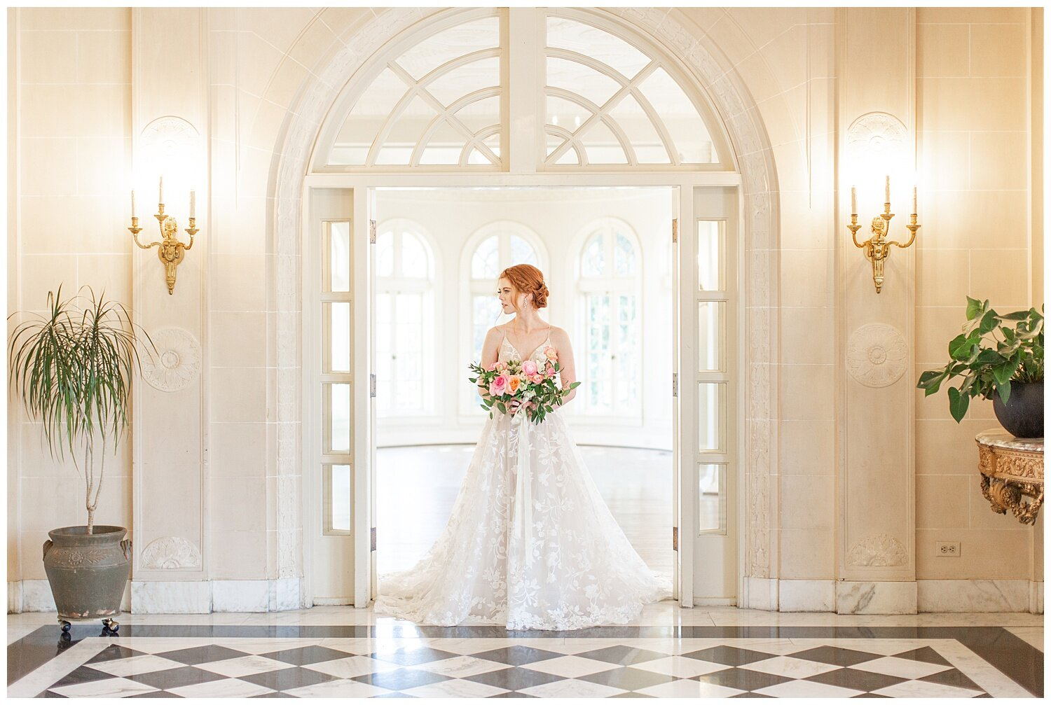 white ballroom bridal pictures