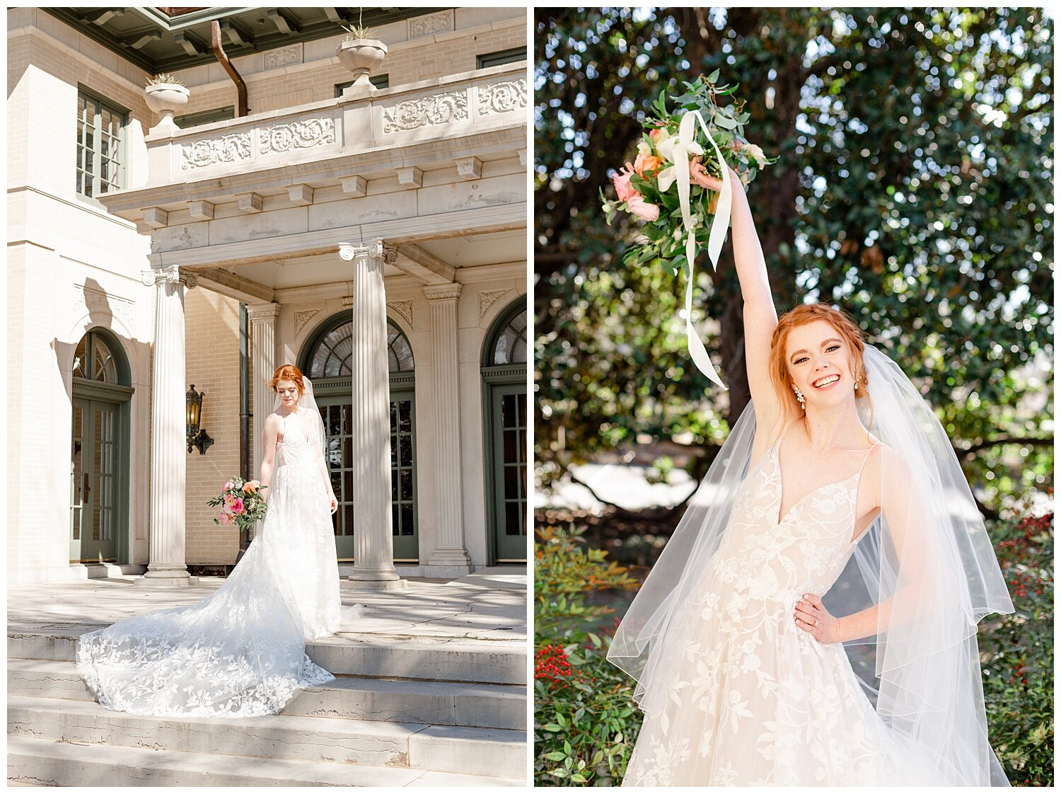 magnolia tree bridal portraits