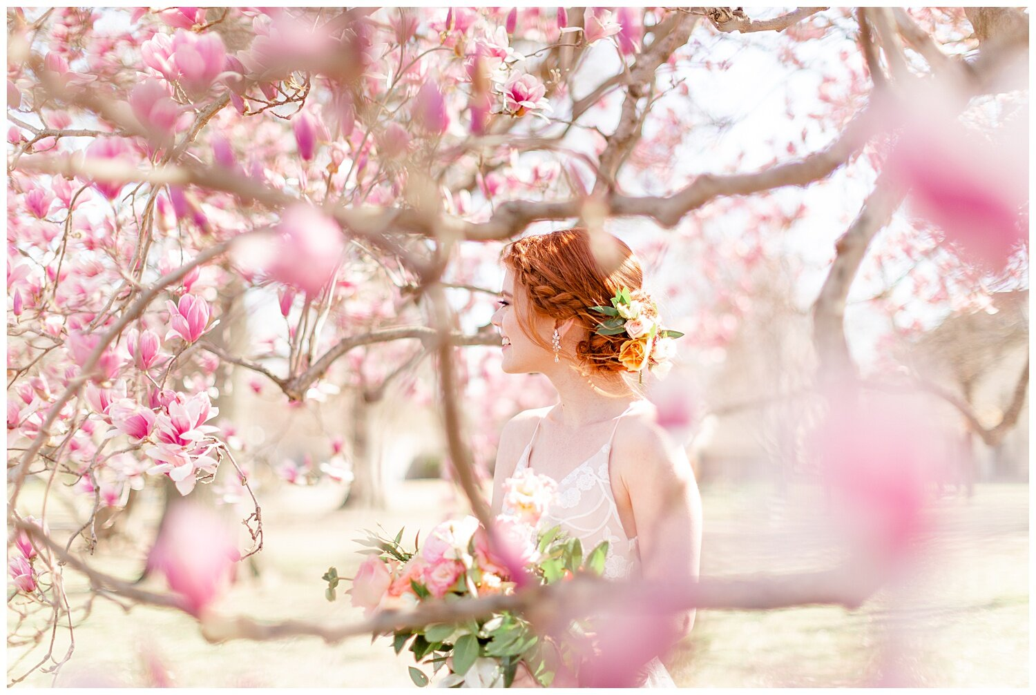 tulip tree spring bridal pictures
