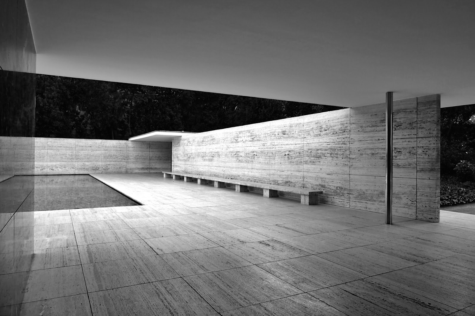 Ludwig Mies van der Rohe,  Barcelona Pavilion, Barcelona. The minimal interplay of columns, walls and roof planes create an almost delicate composition, each material thoughtfully considered. It feels like one part museum, one part ancient temple - a place of reflection and contemplation.
