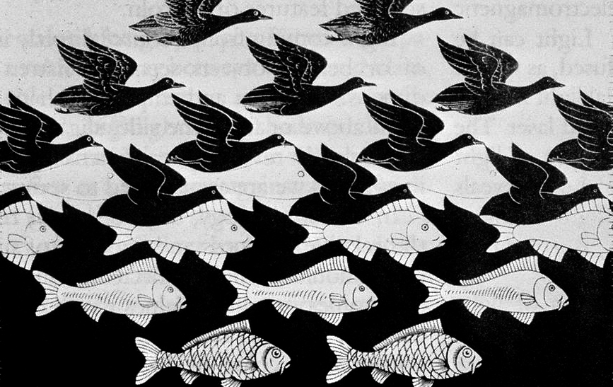 M. C. Escher,  'Sky and Water I' 1938. A joyful interplay of negative and positive spaces - we know what we see at each extreme but the transition blurs our sensibilities. Do we focus on the negative space, or the positive - and at what point does one become the other?