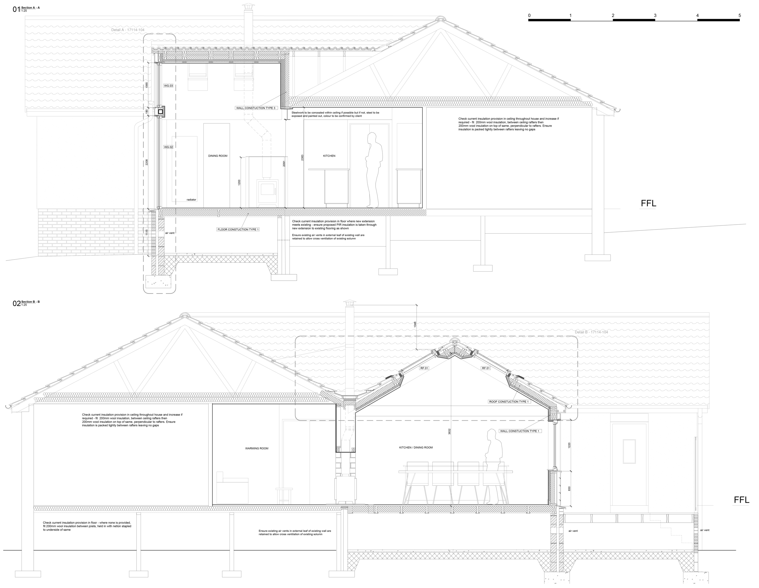 Proposed Section drawings as part of Building Warrant package