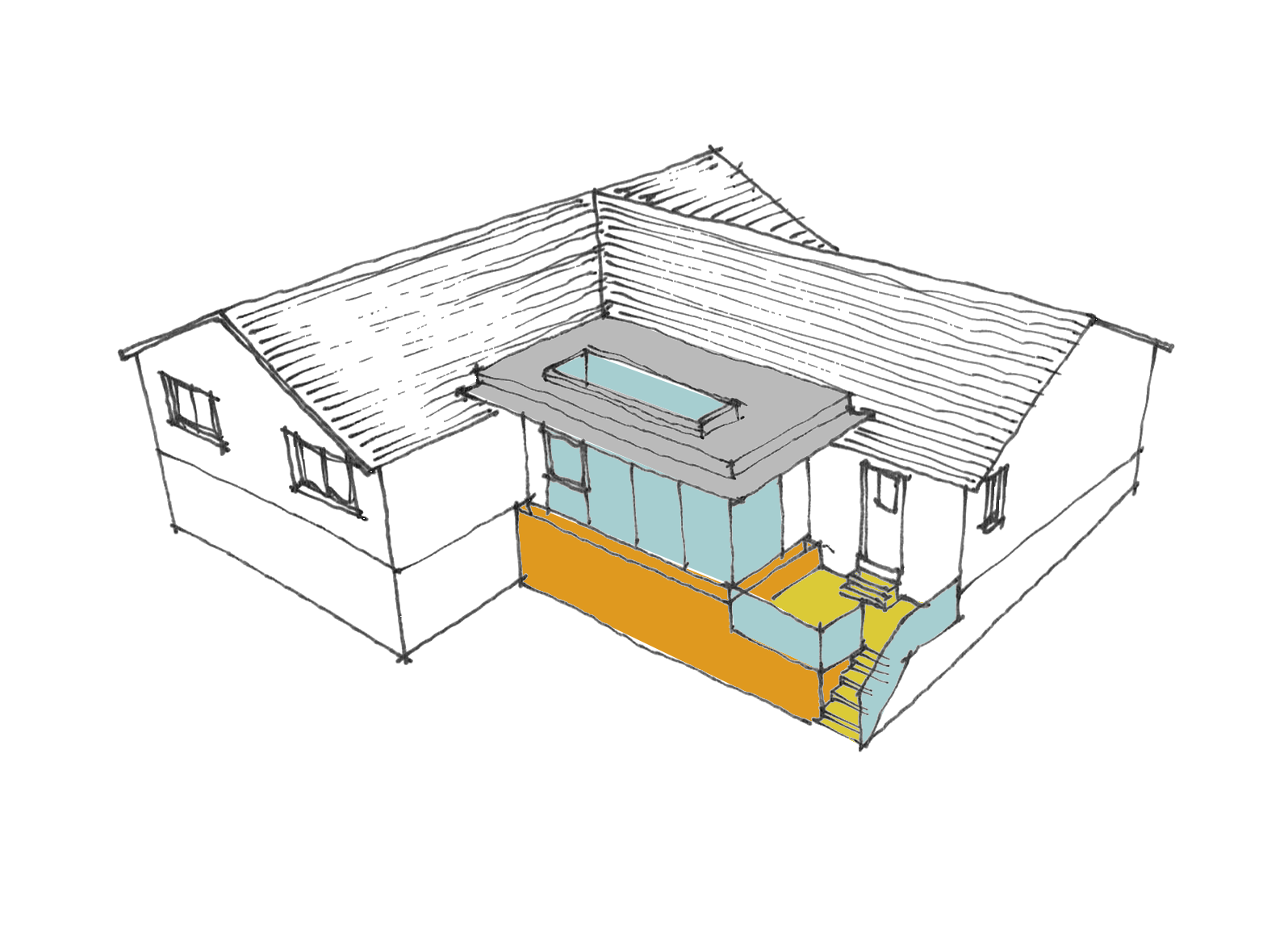 Flat roof, contemporary form as part of the feasibility design study