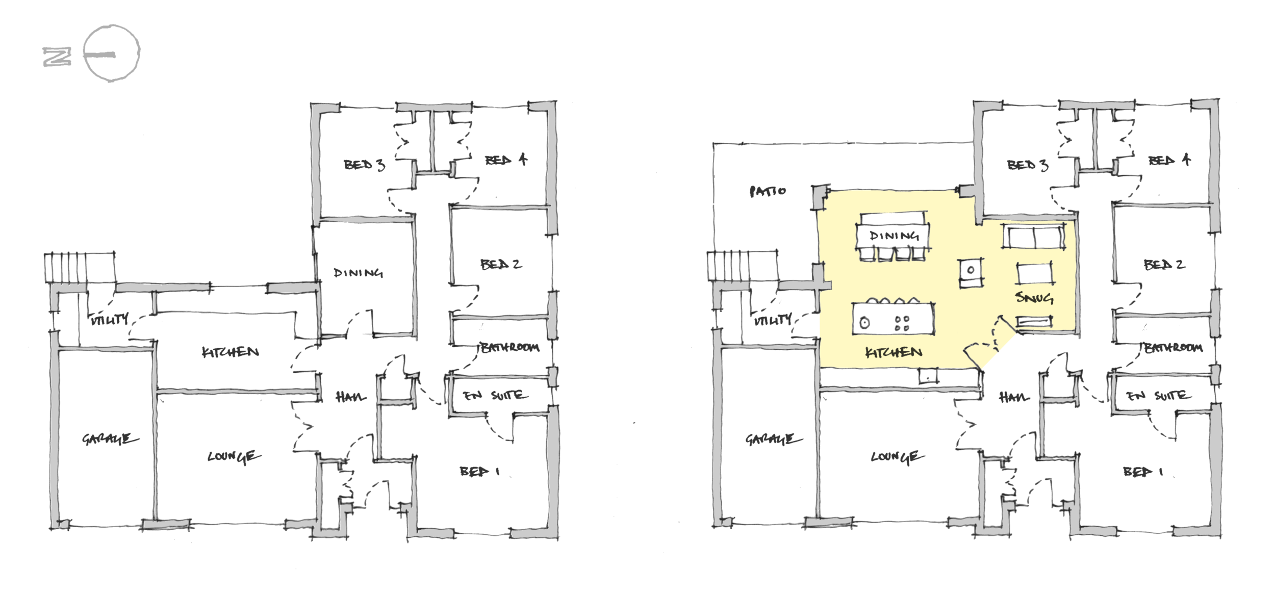 Initial plan design sketch exploring the potential for an open plan space