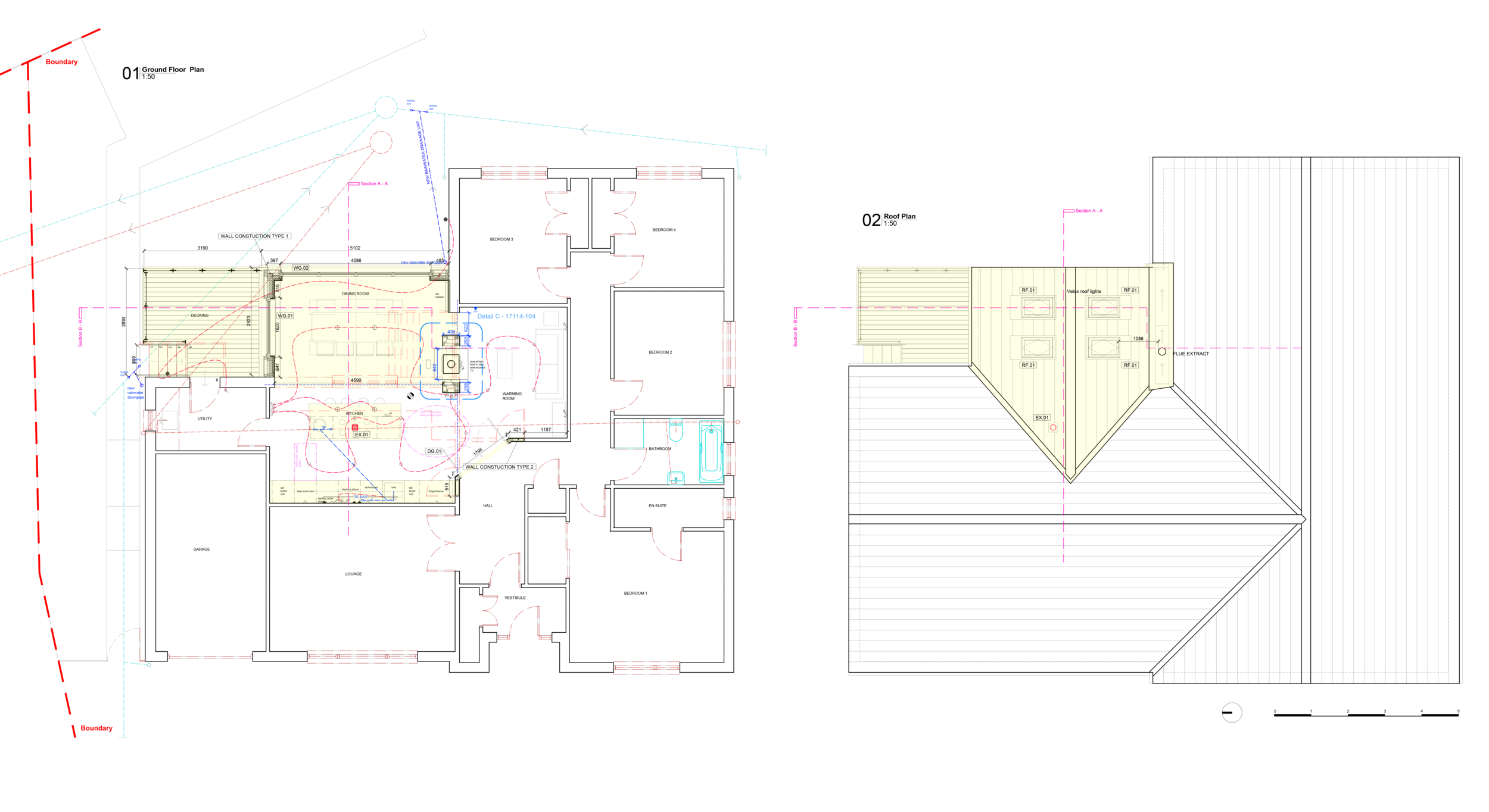 Proposed Ground floor and Roof plan