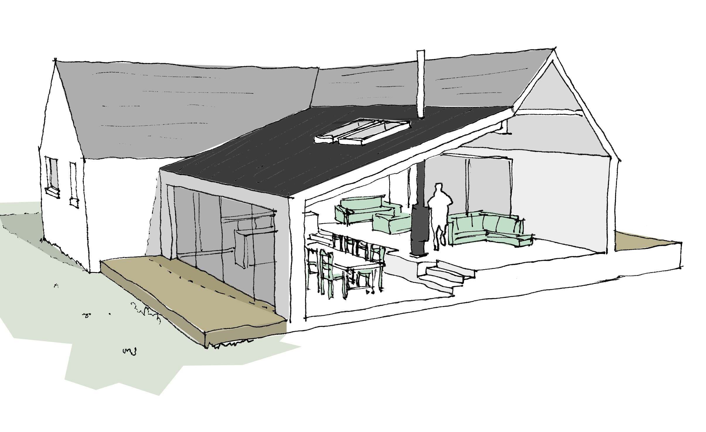 section showing rear of property and stepped lean-to form