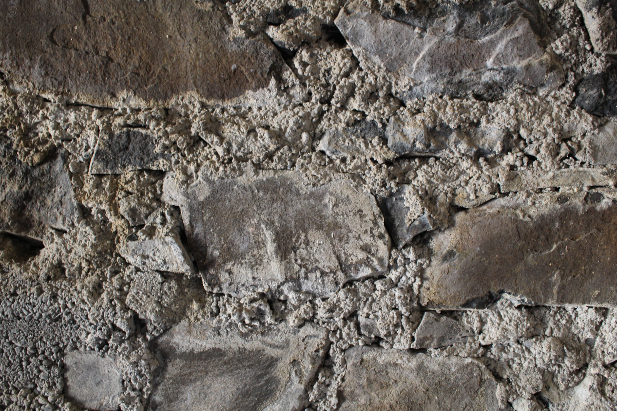 The actual stone itself was in good condition but the mortar was brittle and rough - clearly it was finished to be covered up. If it were to be exposed we would need to rake out the existing and re-point with in Lime mortar