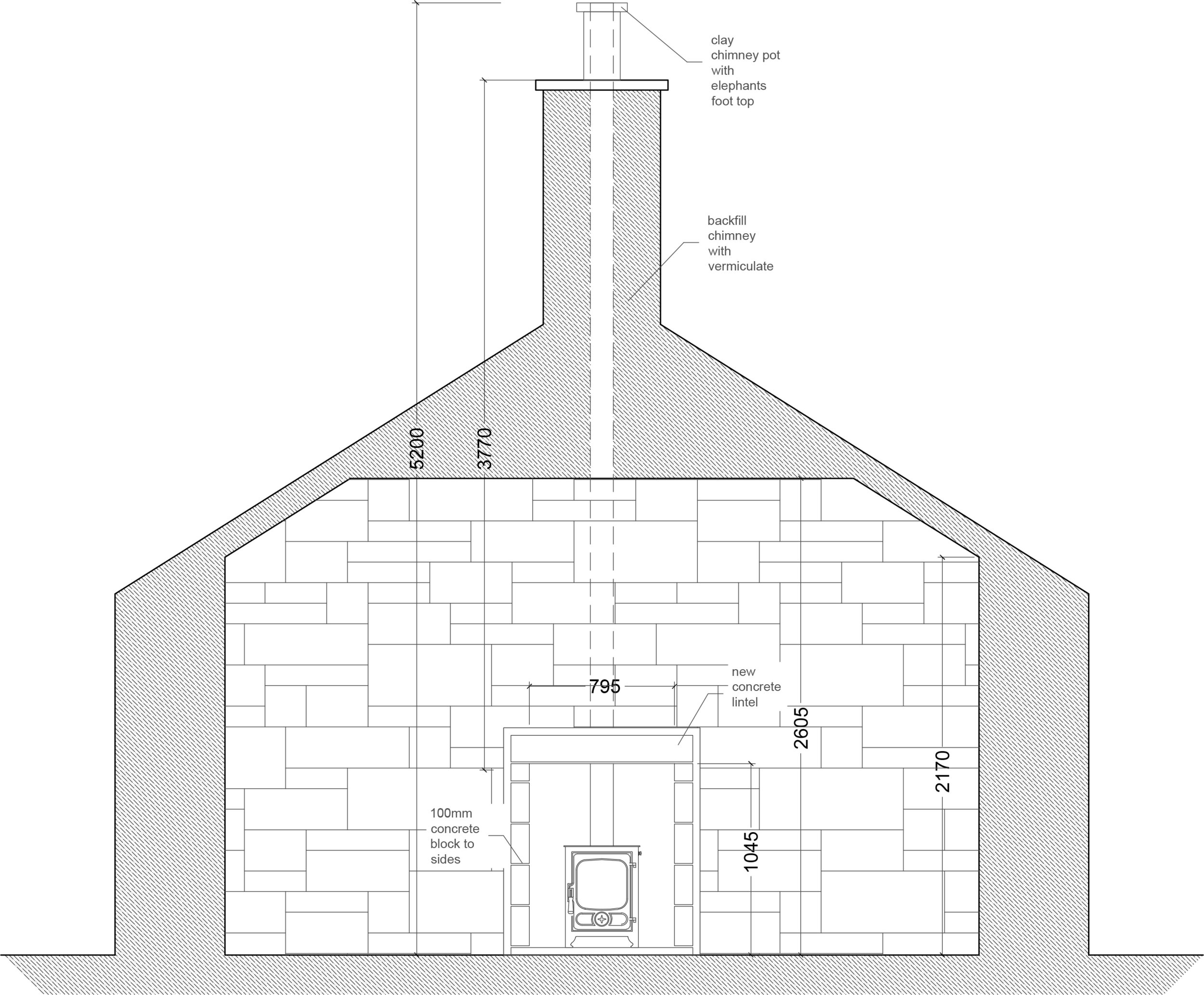 Drawing a sketch elevation to check the dimensions required for the flue and associated kit gives you a guide and confidence that everything will fit ok