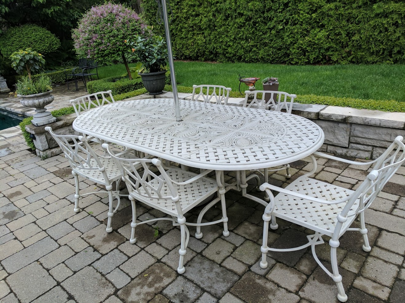 Soriano 6 seater table and Celano carvers