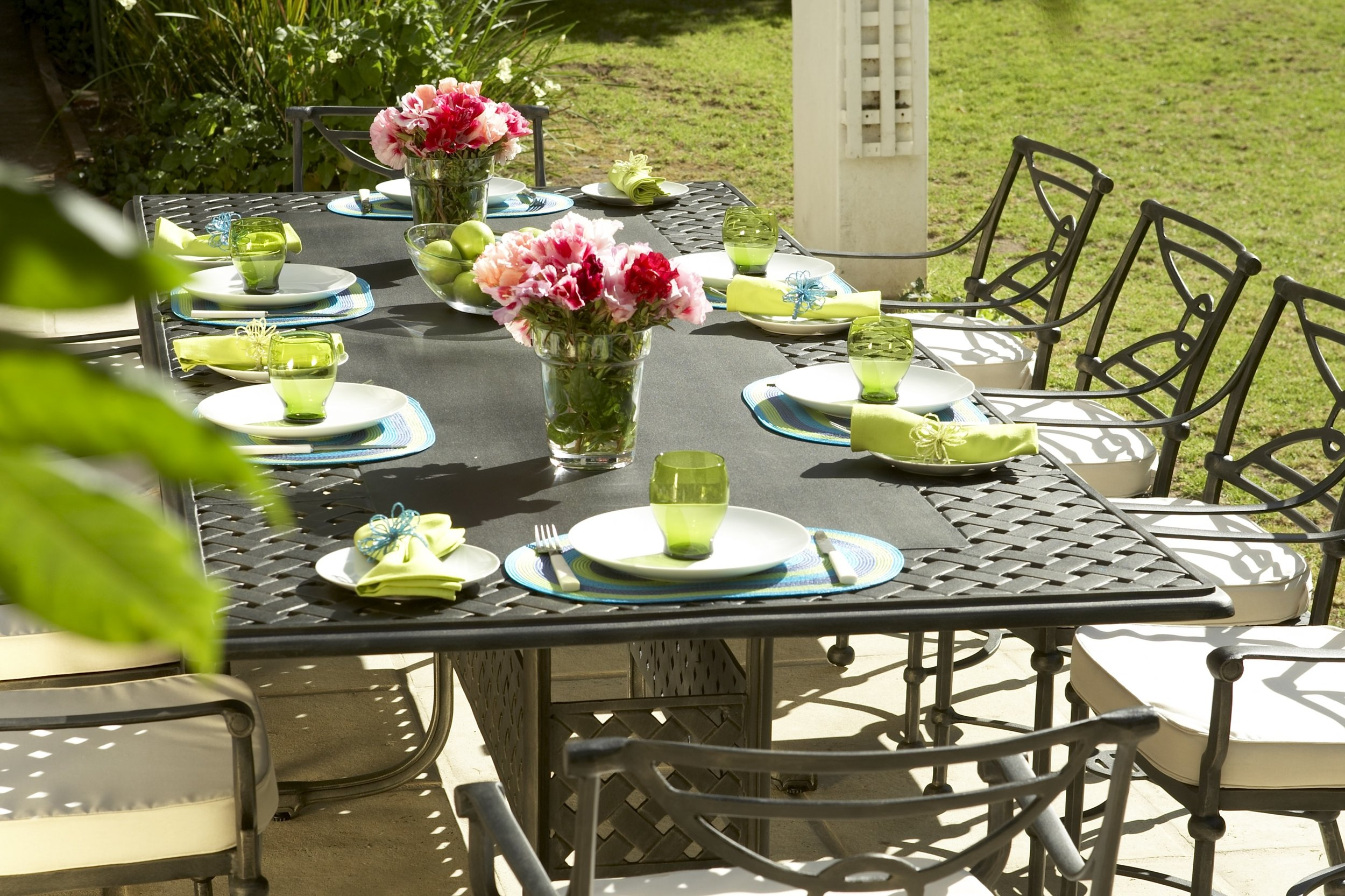 Verona 10 seater table with box base leg design and Baxter carvers