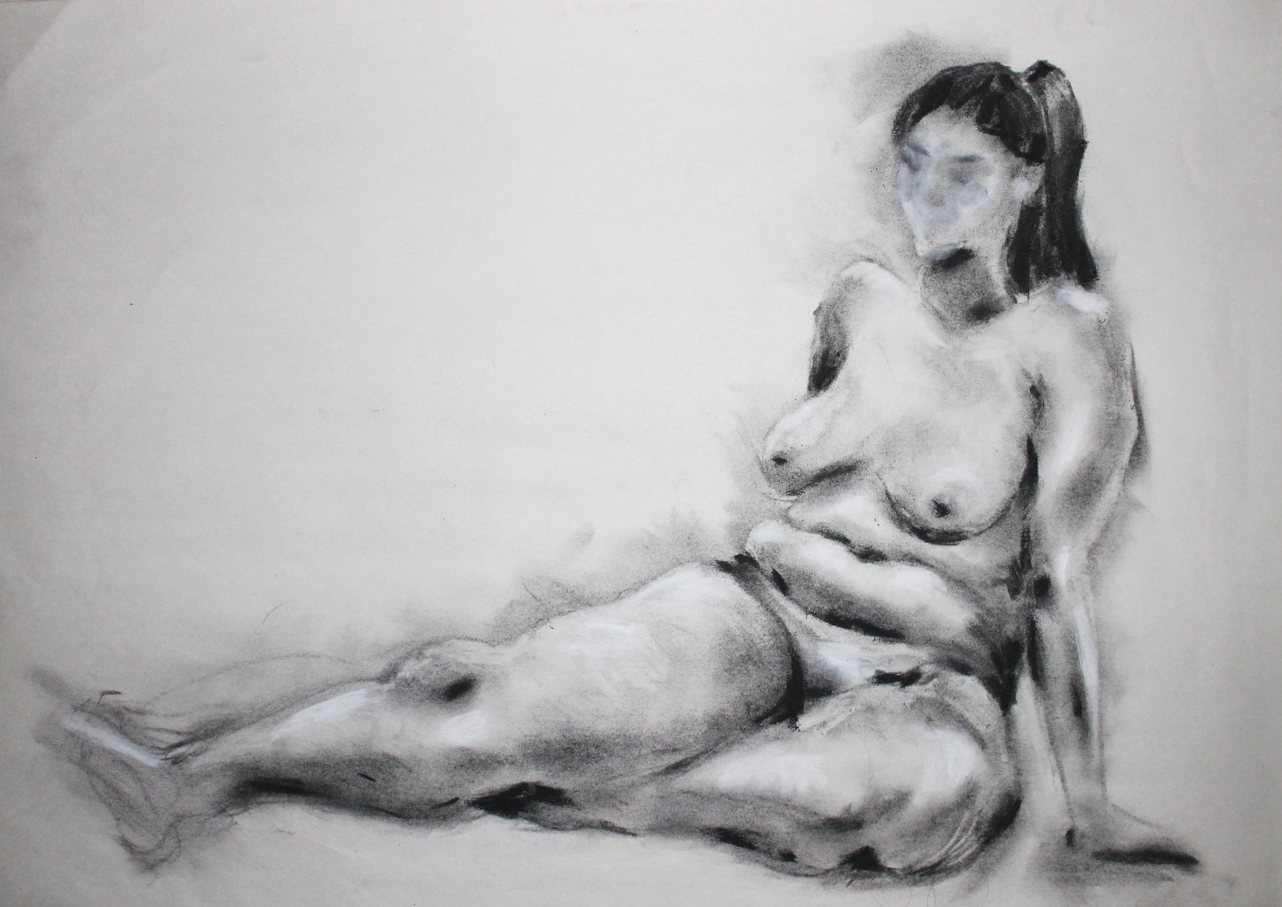 - vine charcoal, compressed charcoal,and conte crayon on newsprint,2017