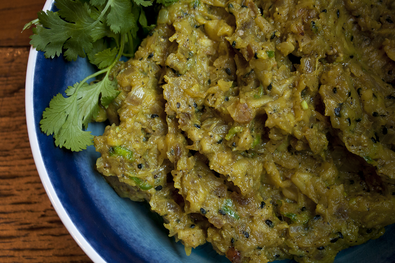 smoked eggplant with kalonji -