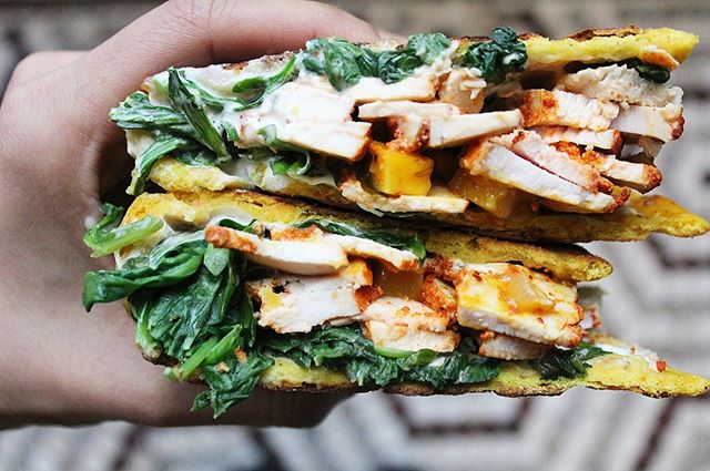 Roasted chicken, tangy mango chutney, naan filled with turmeric & sweet potato, spiced cream cheese to hold it all together and make this naan sandwich oh so delicious! . . . . #pondicherinyc #livespicy #keepcalmandcurryon #eeeeeats #nyeater #eater #buzzfeedfood #buzzfeast #foodbeast #foodstagram #instafood #foodporn #yum #foodporn