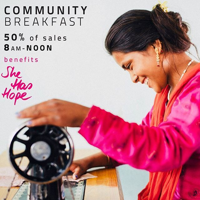 Please join us this Saturday for our community breakfast benefitting @she_has_hope Make sure to also check out the She Has Hope pop up shop in the Bake Lab! She Has Hope operates rehabilitation homes for human trafficking survivors. Women are given counseling, medical care, literacy classes & the entirety of the program is funded by handmade crafts they learn to make.