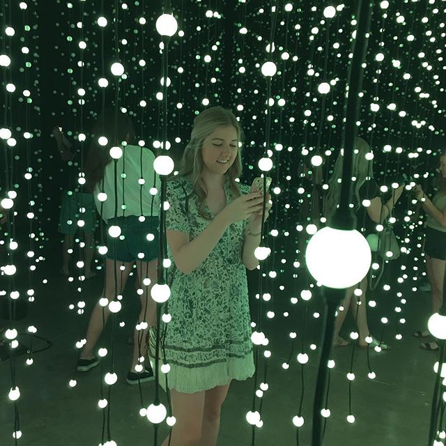 Molly, our design intern, immersed in the magical Squidsoup installation at SMOCA.  Thank you for all of your great work this summer!