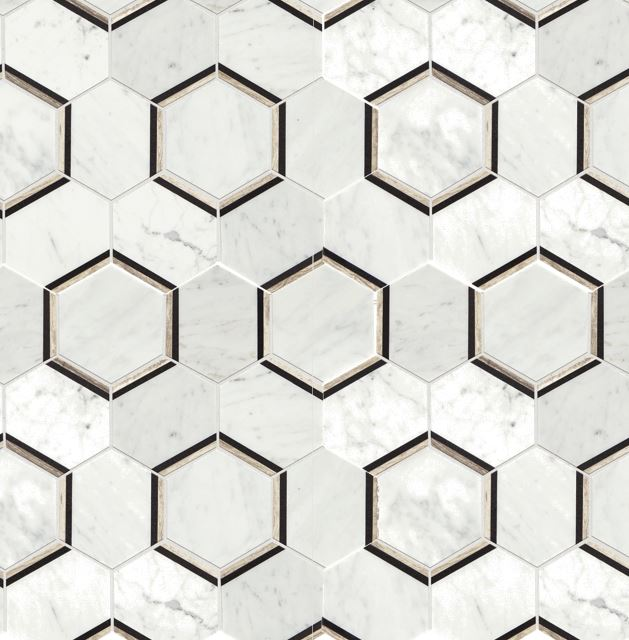 Use neutral but bold patterns. If used sparingly like in a small powder room or kitchen backsplash, bold patterns can truly make a statement that discerning buyers are clamoring for in their homes.  (Source:  American Olean Genuine Stone Carrara Honeycomb Mosaic Marble Floor And Wall Tile  from Lowes.com)