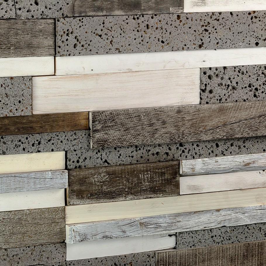 Driftwood Pale Moon and Lava Stone Wood Mosaic Tile- Tilebar.com