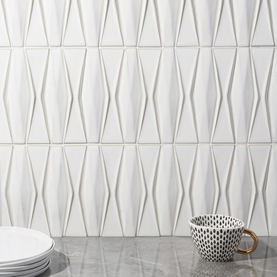 Nabi Harlequin Natural White Ceramic Tile- TIlebar.com