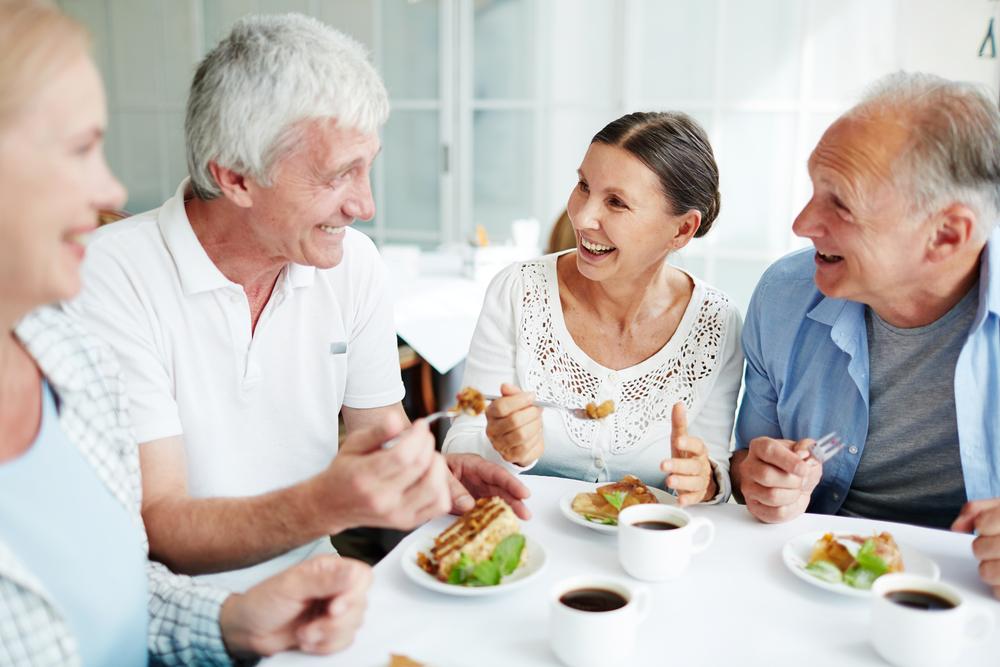 elder persons eating