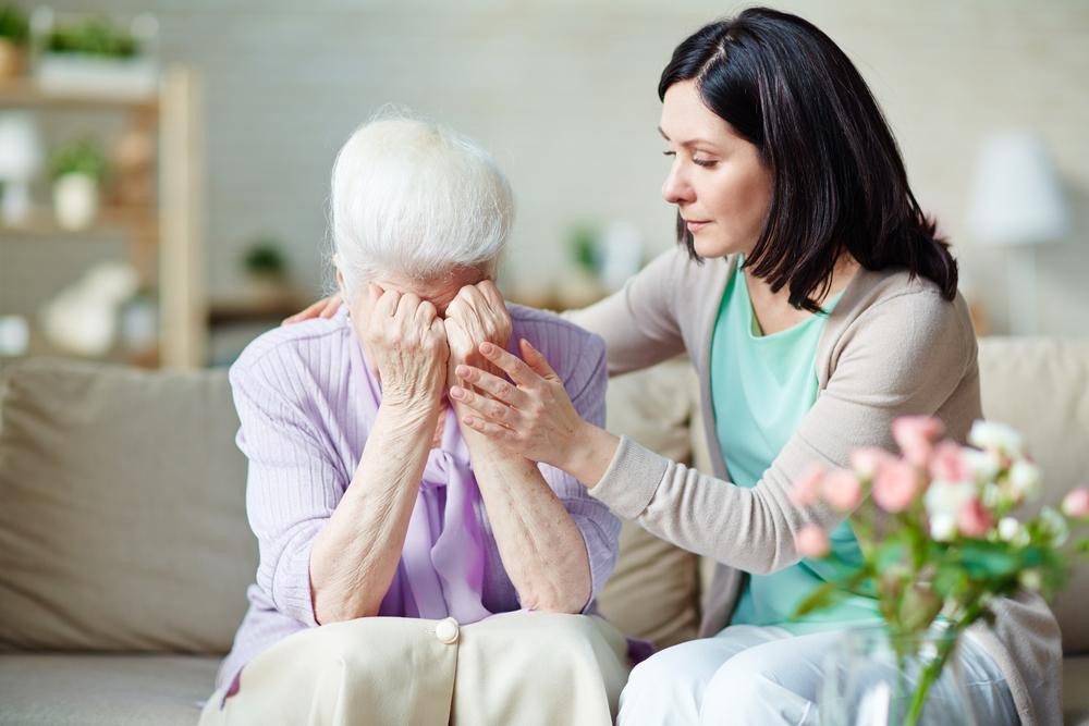 stressed elder woman