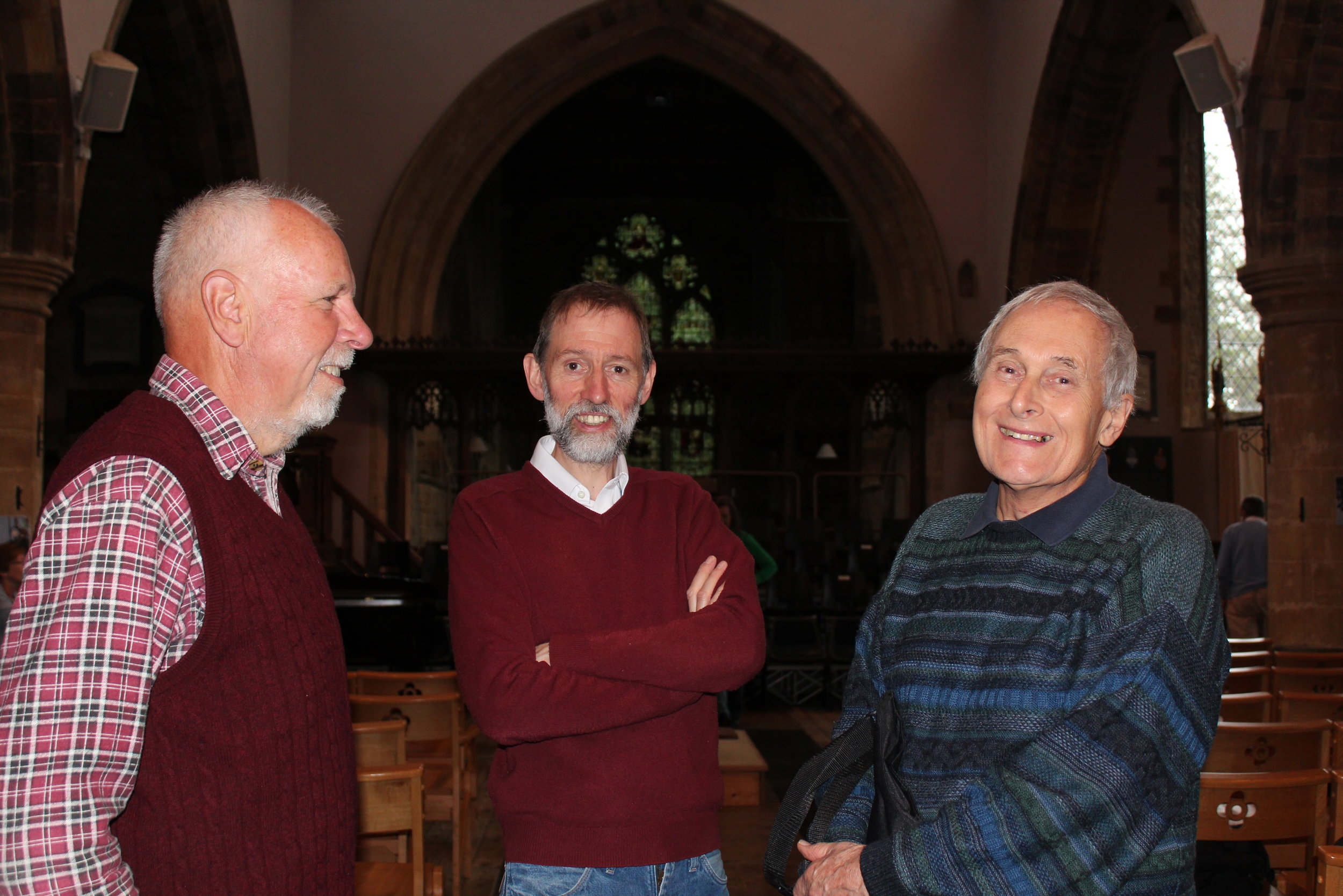 Simon, Tim and Roy before rehearsal at Deddington Church