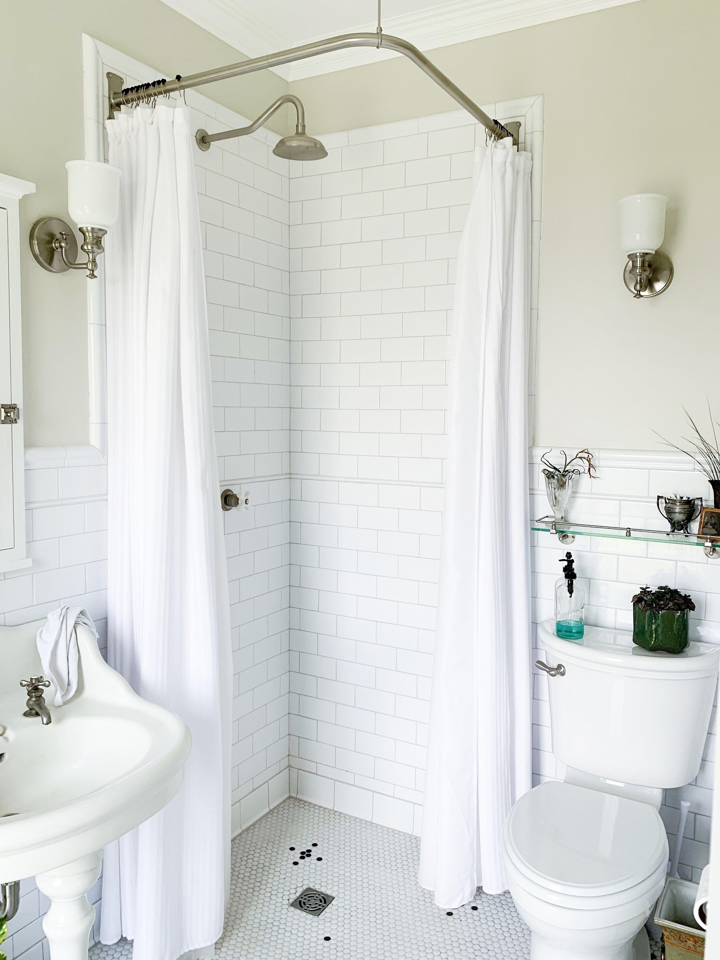 Shower Head  |  Shower Handles  |  Shower Curtain Rod  |  Shower Curtain  |  Shower Curtain Liner  |  Shower Curtain Hooks  |  Soap Holder