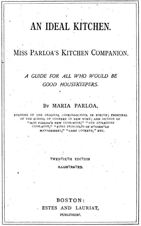 An Ideal Kitchen by Maria Parola. Copyright 1887.
