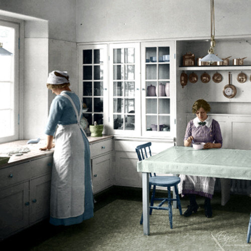 1910 kitchen colorized