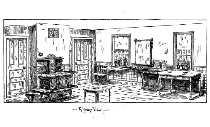 An Ideal Kitchen. Copyright 1887.