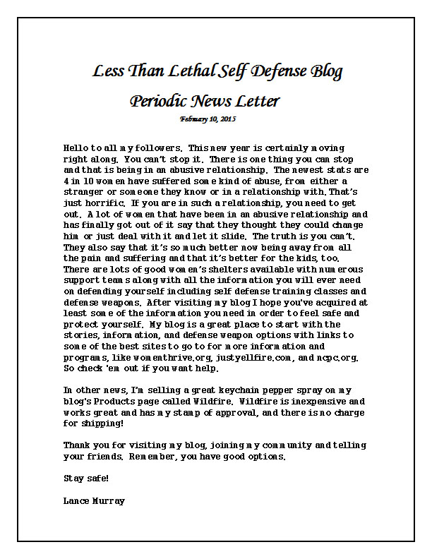 Periodic News Letter 2-10-15