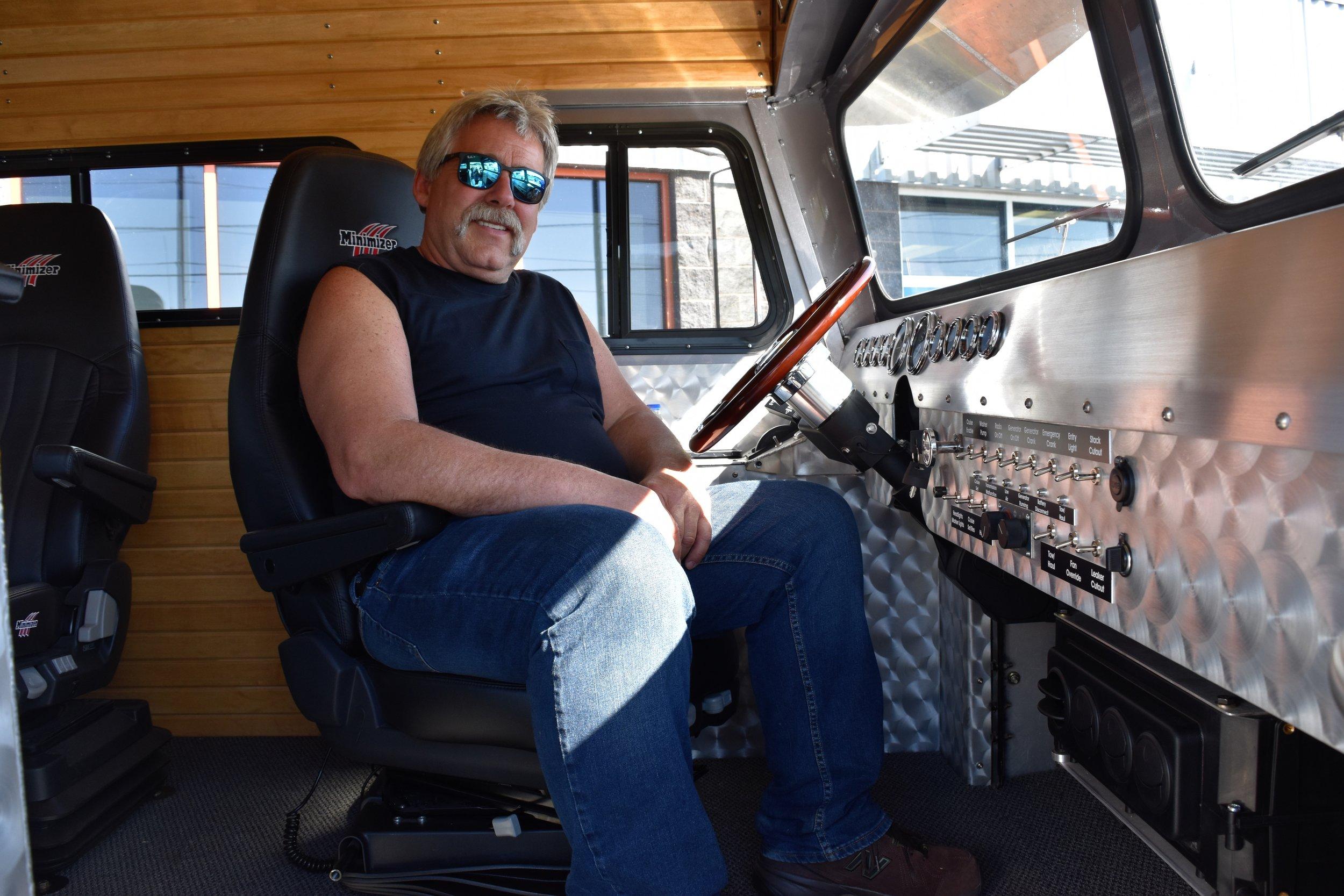 Walt Moss in his bus.
