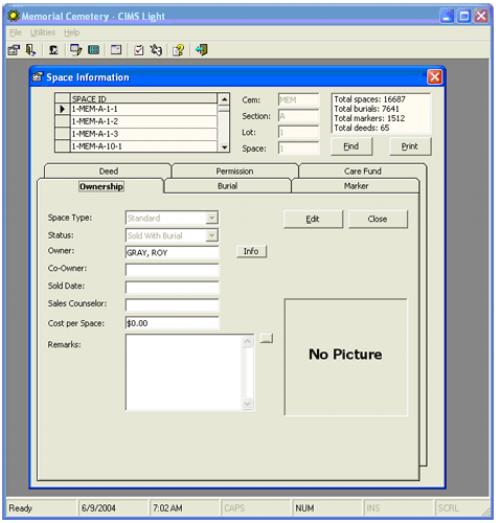 Screenshot of Memorial Cemetery through the CIMS software