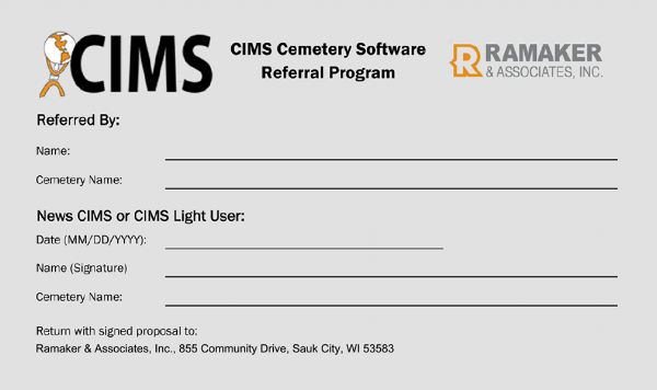 CIMS Cemetery Software Referral Program