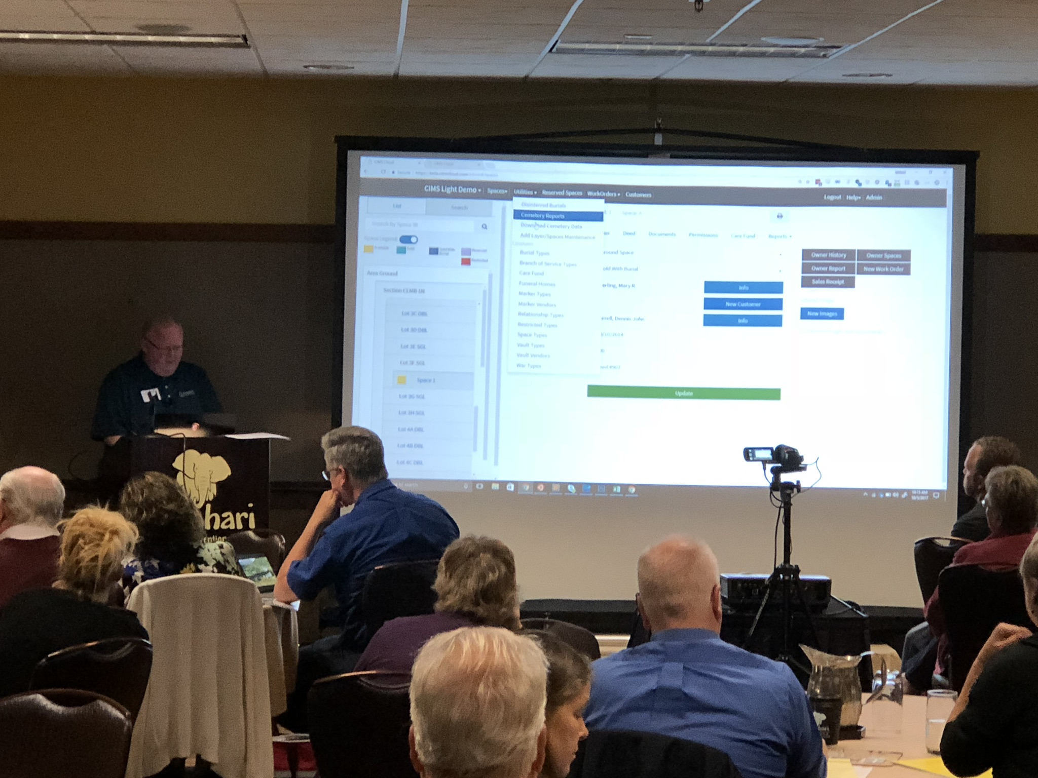 Nathan Cavanagh presenting new features in CIMS Cloud 2.0