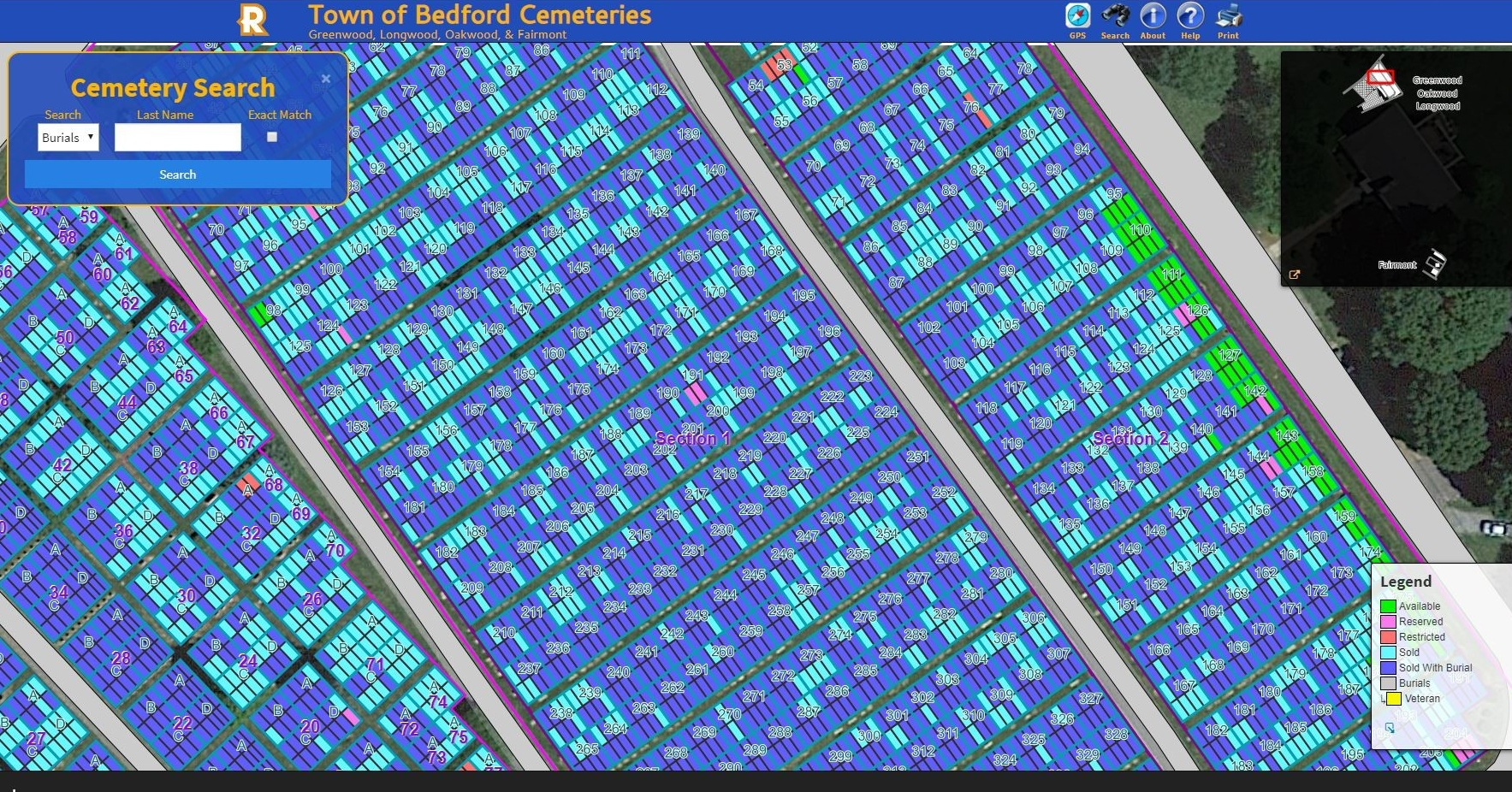Screenshot of Town of Bedford Cemetery through the CIMS software