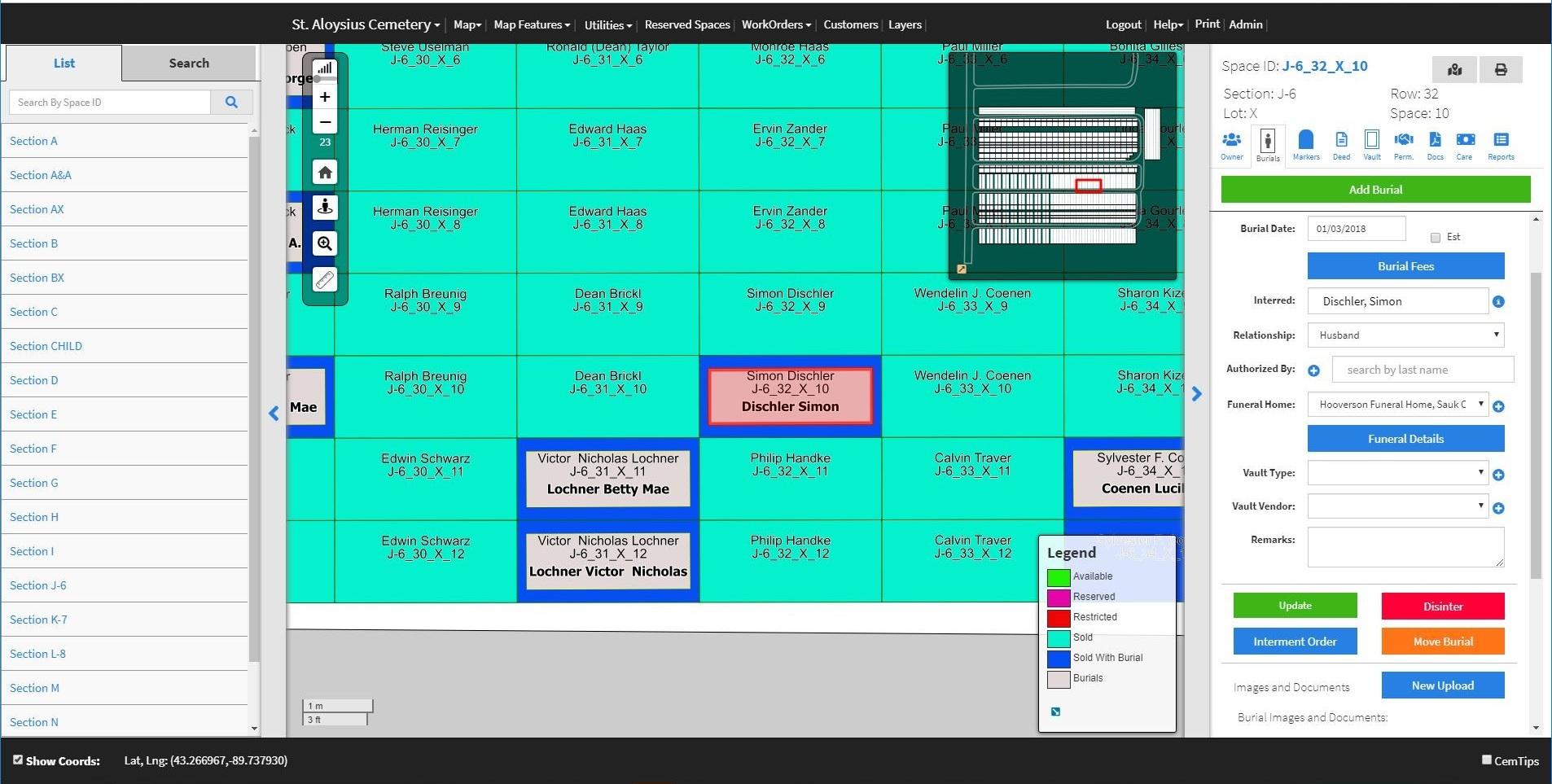 Screenshot of St. Aloysius Cemetery through the CIMS software