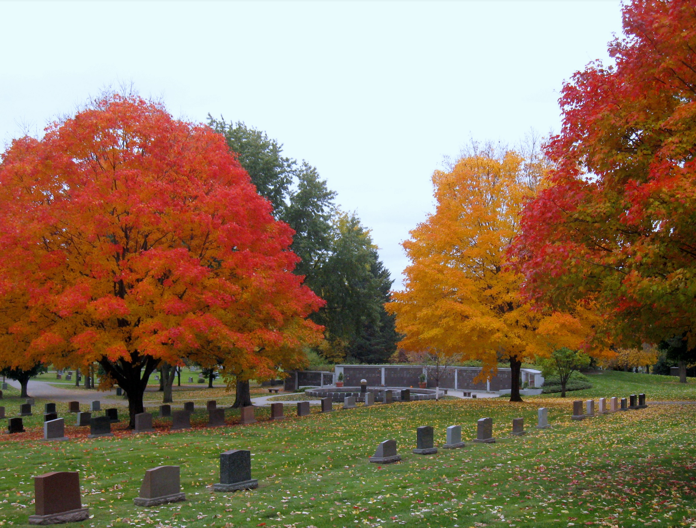 Cemetery in the fall with the leaves changing colors