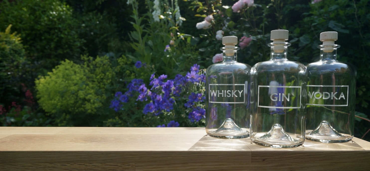The original 'Blasted' design - apothecary-style bottles - each hand-etched with WHISKY, GIN and VODKA labels | Blasted, Sheffield