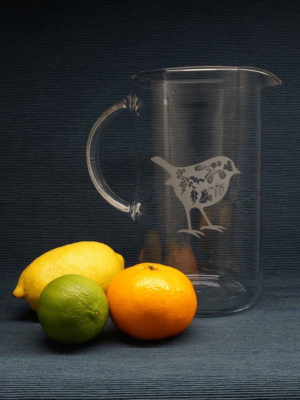 Hand-etched heat-proof jug with winter robin design | Blasted, Sheffield