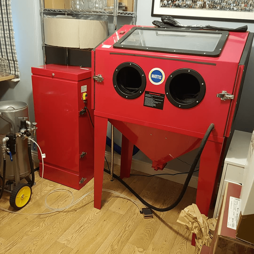 Grit blasting cabinet and vacuum extractor. My pressure pot is on the left | Blasted, Sheffield